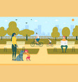 blind girl with stick dog guide walking in park vector image vector image