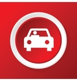 Car icon on red vector image