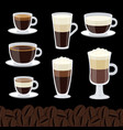 cartoon cups set coffee collection vector image vector image