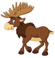 Cartoon happy moose with big horns vector image vector image