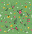 christmas seamless pattern with flat elements vector image vector image