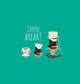 coffee brewing methods with syphon white cup of vector image