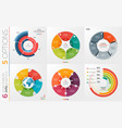 collection of 6 circle chart templates for vector image vector image