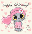 Cute cartoon kitten girl with a balloon