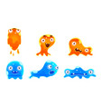 cute jelly monsters set funny bright slimy vector image vector image