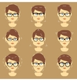 Different glasses shapes suitable for women faces vector image vector image