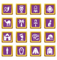 egypt travel icons set purple square vector image vector image