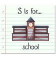 Flashcard letter S is for school vector image vector image