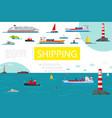 flat sea transportation composition vector image vector image