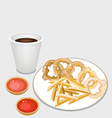 French Fries and Onion Ring with Disposable Coffee vector image