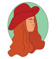 girl with red hat on white background vector image vector image