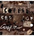 Grunge coffee pattern vector image vector image