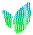 halftone blue-green floral sprout icon vector image vector image