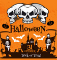 halloween holiday poster with haunted house skull vector image vector image