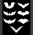 halloween icons set of bats in white vector image vector image