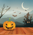 halloween pumpkin against spooky landscape 0109 vector image vector image