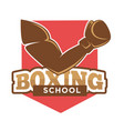 hand on boxing school sign vector image vector image