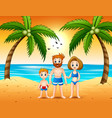 happy family with their son spending summer season vector image vector image
