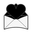 heart cartoon with message envelope valentines day vector image vector image