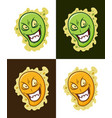 insidious virus icon crazy microbe mascot vector image