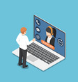 isometric businessman standing in front laptop vector image vector image