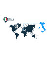 italy location on the world map for infographics vector image