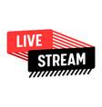 live stream banner video news tv stream screen vector image