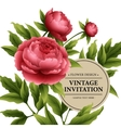 Luxurious peony flower and leaves greeting card vector image vector image