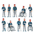 man with injury wheelchair man with broken arm vector image
