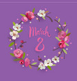 march 8 womens day greeting card with a wreath vector image vector image