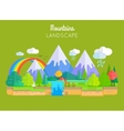 Mountains Landscape Concept In Flat Design vector image