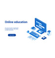 online education 3d lp template 2 vector image