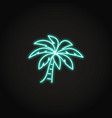 palm tree icon in glowing neon style vector image