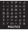 politics editable line icons set on black vector image vector image