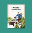 poster template with world car free day concept vector image vector image