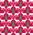 reindeer and trees seamless pattern vector image vector image