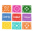set handmade colorful paper cut party bunting vector image