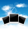 Set pictures on blue sky background vector image