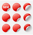 set round glossy red stickers with curled vector image