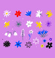 set spring flowers easter decorative elements vector image vector image