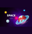 space background cosmos with planets banner vector image