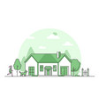 suburban house - modern thin line design style vector image