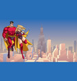 super mom dad and baby in city vector image