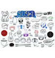 sushi doodles collection vector image