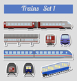 Train icon set Subway monorail funicular transport vector image vector image