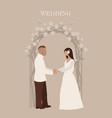 wedding ceremony bride and groom vector image vector image