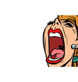 woman screaming isolated on white background vector image vector image