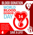 world blood donor day medical banner design vector image