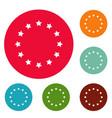 european union icons circle set vector image