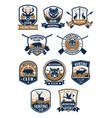 hunting sport symbol and hunter club badge set vector image